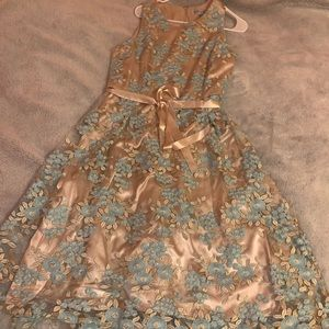 Gold and Blue flowered prom dress!